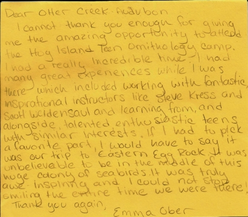 Thank you card from past scholarship awardee, Emma Ober