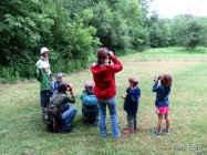 Young birders learning binoculars